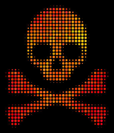 Dotted death skull icon. Bright pictogram in fire color tinges on a black background. Vector halftone pattern of death skull pictogram combined from circle points.