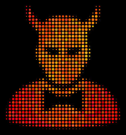Dot devil icon. Bright pictogram in orange color shades on a black background. Vector halftone composition of devil pictogram organized of spheric pixels. Ilustração