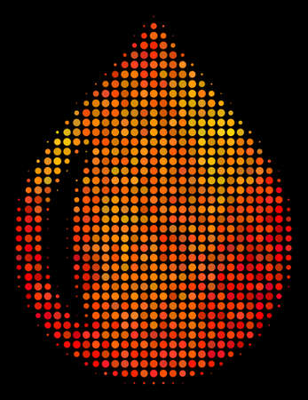 Pixelated drop icon. Bright pictogram in hot color shades on a black background. Vector halftone mosaic of drop icon created with round elements. Иллюстрация