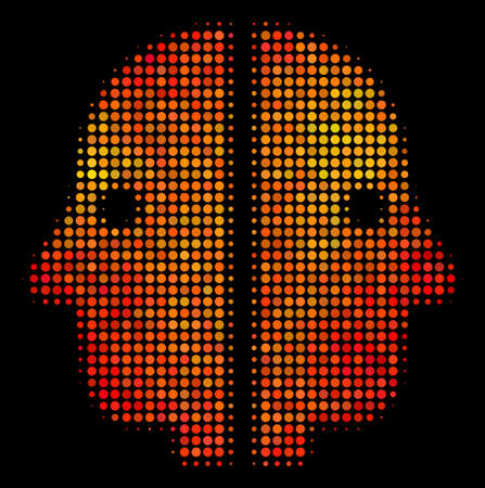 Pixel dual face icon. Bright pictogram in hot color tinges on a black background. Vector halftone composition of dual face symbol constructed of circle points.
