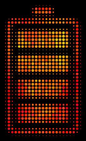 Icône de batterie électrique de point. Pictogramme lumineux dans des teintes de couleur feu sur fond noir. Concept de demi-teinte de vecteur de pictogramme de batterie électrique composé de points de cercle.