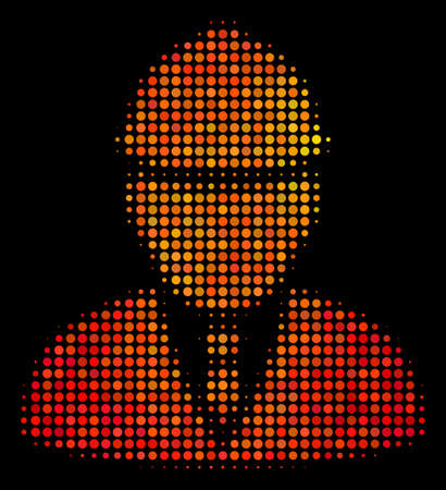 Dotted engineer icon. Bright pictogram in fire orange color variations on a black background. Vector halftone pattern of engineer symbol done of circle dots.