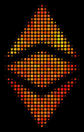 Pixelated ethereum classic icon. Bright pictogram in orange color tones on a black background. Vector halftone composition of ethereum classic icon designed from circle points.