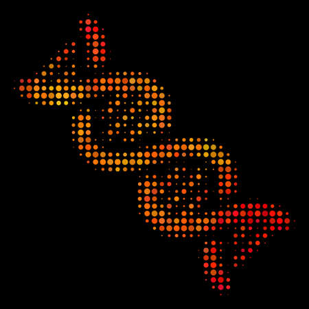 Pixelated DNA spiral icon. Bright pictogram in orange color tones on a black background. Vector halftone pattern of DNA spiral symbol formed from round dots.