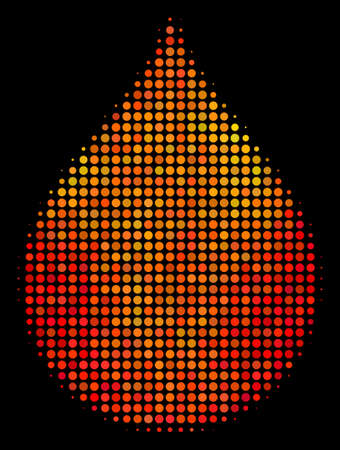 Pixelated drop icon. Bright pictogram in orange color tinges on a black background. Vector halftone collage of drop symbol created from circle pixels.