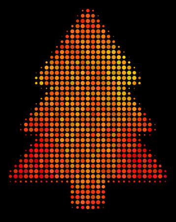 Dotted fir-tree icon. Bright pictogram in fire orange color hues on a black background. Vector halftone concept of fir-tree icon created from spheric elements. 矢量图像