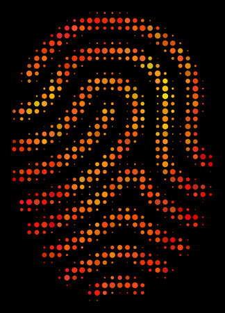 Dot fingerprint icon. Bright pictogram in hot color variations on a black background. Vector halftone concept of fingerprint icon combined from spheric pixels. Ilustrace