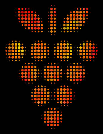 Pixelated grapes icon. Bright pictogram in orange color tints on a black background. Vector halftone concept of grapes icon constructed with round pixels.