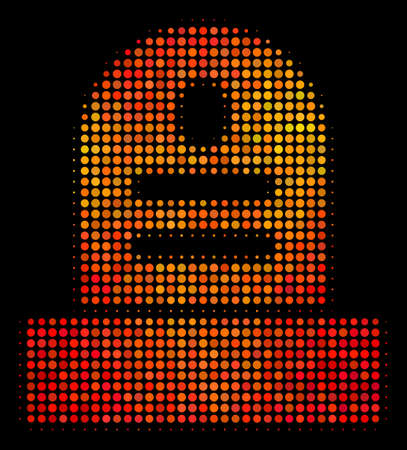 Pixelated grave icon. Bright pictogram in hot color tones on a black background. Vector halftone mosaic of grave symbol made with spheric items.