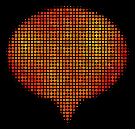 Pixel hint icon. Bright pictogram in orange color shades on a black background. Vector halftone concept of hint symbol made with spheric points. Illustration
