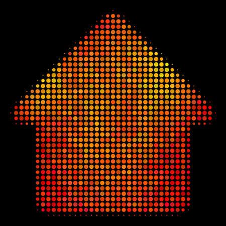 Dotted house icon. Bright pictogram in fire color variations on a black background. Vector halftone composition of house pictogram organized of circle items.