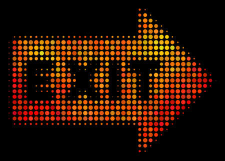 Pixelated exit arrow icon. Bright pictogram in fire color tones on a black background. Vector halftone mosaic of exit arrow icon combined with spheric dots.