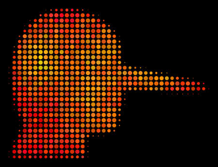 Pixelated lier icon. Bright pictogram in orange color shades on a black background. Vector halftone pattern of lier pictogram composed of spheric elements.