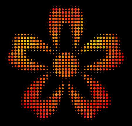 Pixel flower icon. Bright pictogram in hot color hues on a black background. Vector halftone pattern of flower pictogram constructed of spheric elements.
