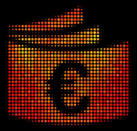 Dot euro checkbook icon. Bright pictogram in fire color tones on a black background. Vector halftone collage of euro checkbook icon created with circle pixels. Illustration