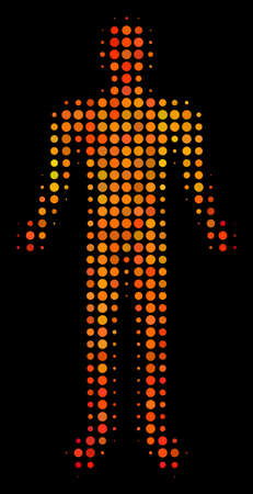 Dot human icon. Bright pictogram in orange color tints on a black background. Vector halftone mosaic of human symbol made of spheric elements. Archivio Fotografico - 100712083
