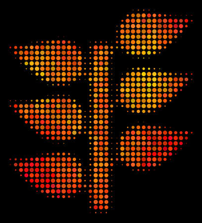 Pixelated flora plant icon. Bright pictogram in fire orange color shades on a black background. Vector halftone mosaic of flora plant icon organized with round dots. Illustration