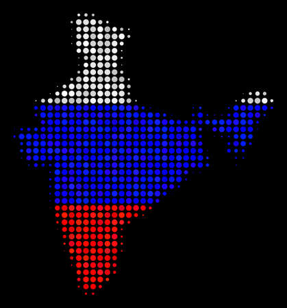 Halftone Pixel India map. Vector geographical map in Russian official flag colors on a dark background. Stylized pattern of India map organized of circle dots.