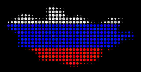 Halftone Dot Mongolia map. Vector geographic map in Russia official flag colors on a dark background. Stylized pattern of Mongolia map done of circle pixels.
