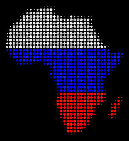 Halftone Dotted Africa map. Vector geographic map in Russia official flag colors on a dark background. Stylized mosaic of Africa map organized of circle elements.