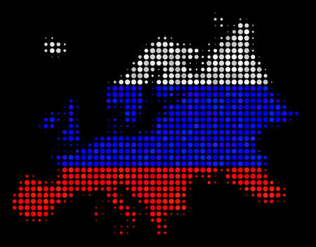 Halftone Pixel Europe map. Vector geographic map in Russian state flag colors on a dark background. Stylized mosaic of Europe map organized of round items.