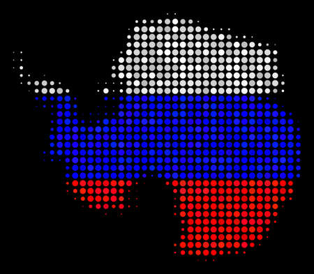 Halftone Pixel Antarctica map. Vector geographic map in Russian official flag colors on a dark background. Stylized pattern of Antarctica map composed of round items.
