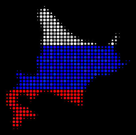 Halftone Dot Hokkaido Island map. Vector geographical map in Russia official flag colors on a dark background. Stylized concept of Hokkaido Island map created of round dots.