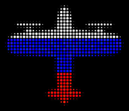 Halftone Aircraft pictogram colored in Russia state flag colors on a dark background. Vector mosaic of aircraft icon constructed from spheric blots.