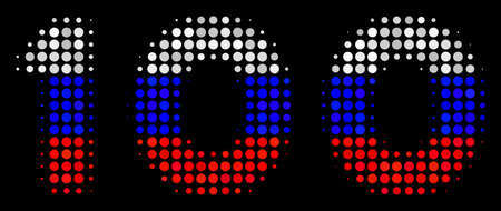Halftone 100 Text pictogram colored in Russia state flag colors on a dark background. Vector composition of 100 text icon designed from circle items. 일러스트
