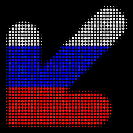 Halftone Arrow Down Left icon colored in Russian official flag colors on a dark background. Vector concept of arrow down left icon composed with circle dots.