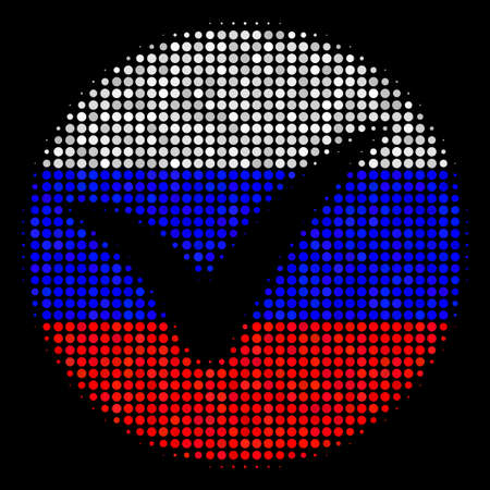 Halftone Apply icon colored in Russian state flag colors on a dark background. Vector mosaic of apply icon designed from circle elements. Designed for political and Russian patriotic purposes. Illustration
