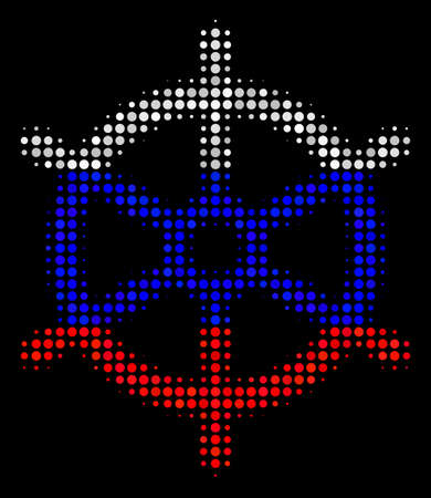 Halftone Boat Steering Wheel icon colored in Russian state flag colors on a dark background. Vector collage of boat steering wheel icon combined with spheric spots.