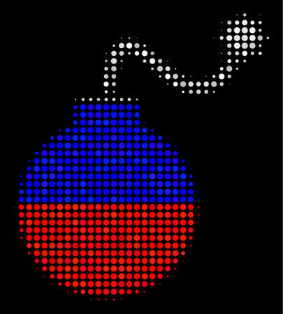 Halftone Bomb pictogram colored in Russia state flag colors on a dark background. Vector pattern of bomb icon composed of spheric blots. Designed for political and Russian patriotic doctrines.