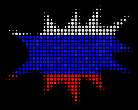 Halftone Boom Bang icon colored in Russian official flag colors on a dark background. Vector mosaic of boom bang icon organized from circle items. Illustration