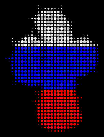 Halftone Cacti pictogram colored in Russia state flag colors on a dark background. Vector composition of cacti icon formed with circle blots. Designed for political and Russian patriotic purposes.