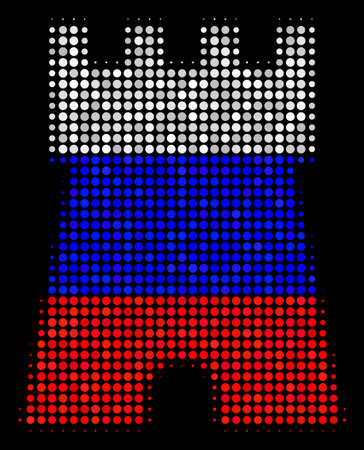Halftone Bulwark Tower pictogram colored in Russian state flag colors on a dark background. Vector pattern of bulwark tower icon constructed from circle blots.