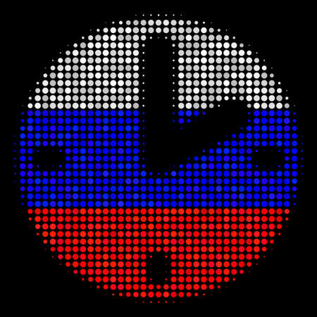 Halftone Clock icon colored in Russian state flag colors on a dark background. Vector mosaic of clock icon combined from round elements. Designed for political and Russian patriotic applications. Illustration