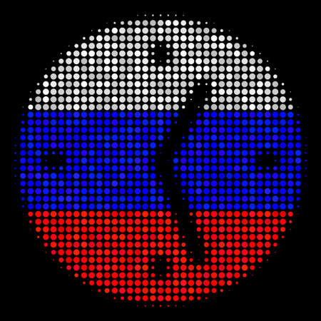Halftone Clock icon colored in Russia state flag colors on a dark background. Vector composition of clock icon created with round pixels. Designed for political and Russian patriotic agitation.