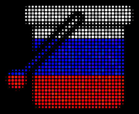Halftone Bucket icon colored in Russian official flag colors on a dark background. Vector concept of bucket icon designed from round spots. Designed for political and Russian patriotic agitation.