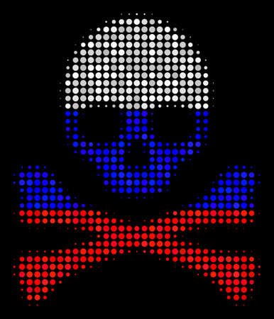Halftone Death Skull pictogram colored in Russia official flag colors on a dark background. Vector pattern of death skull icon done of circle blots.