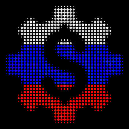 Halftone Development Cost icon colored in Russia state flag colors on a dark background. Vector concept of development cost icon made from circle items.