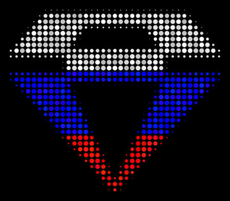 Halftone Diamond icon colored in Russian official flag colors on a dark background. Vector composition of diamond icon composed with round spots. Designed for political and Russian patriotic agitprop.