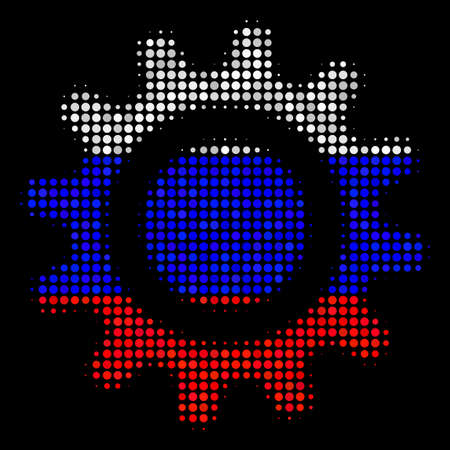 Halftone Cog icon colored in Russian state flag colors on a dark background. Vector mosaic of cog icon constructed with circle dots. Designed for political and Russian patriotic agitation.