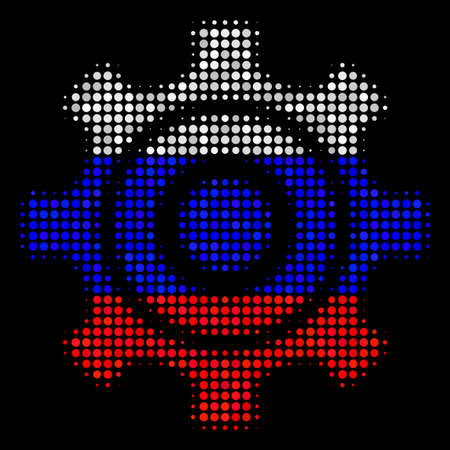 Halftone Cogwheel icon colored in Russia official flag colors on a dark background. Vector collage of cogwheel icon composed with round dots. Designed for political and Russian patriotic collages.