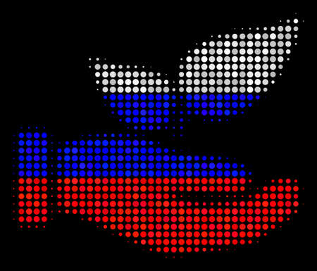 Halftone Eco Startup Hand icon colored in Russian official flag colors on a dark background. Vector pattern of Eco startup hand icon constructed of circle dots.