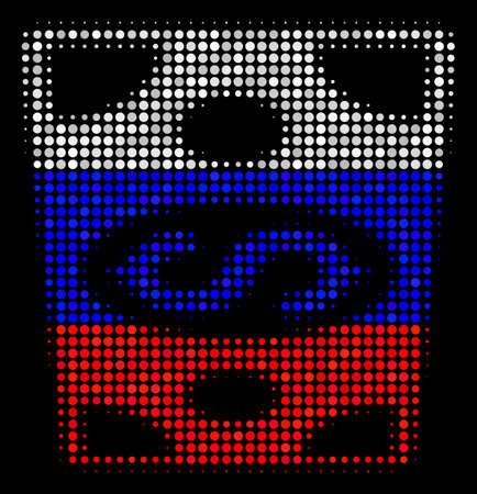 Halftone Dollar Banknote icon colored in Russia state flag colors on a dark background. Vector collage of dollar banknote icon designed of sphere pixels.