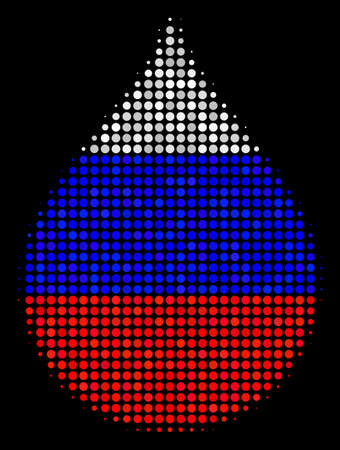 Halftone Drop pictogram colored in Russian official flag colors on a dark background. Vector concept of drop icon formed with round dots. Designed for political and Russian patriotic collages.