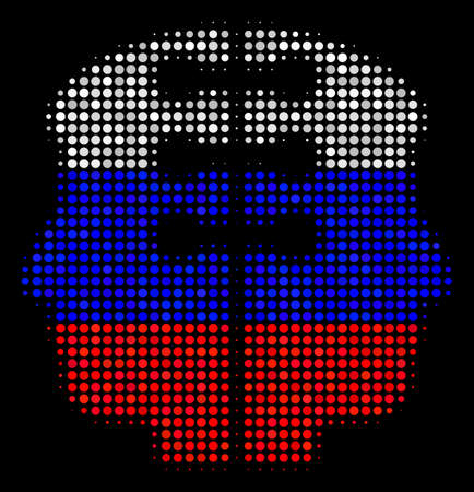 Halftone Dual Head Interface icon colored in Russian official flag colors on a dark background. Vector concept of dual head interface icon made from round elements.