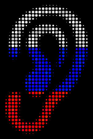 Halftone Ear icon colored in Russian official flag colors on a dark background. Vector composition of ear icon formed with sphere elements. Designed for political and Russian patriotic applications. Banque d'images - 100742626