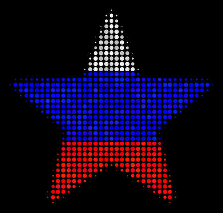 Halftone Fireworks Star icon colored in Russian state flag colors on a dark background. Vector collage of fireworks star icon organized from round elements.